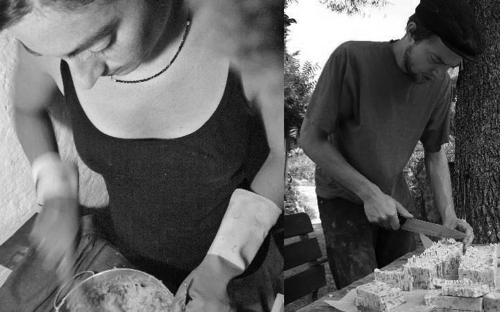 Diana and Jörg making natural soap