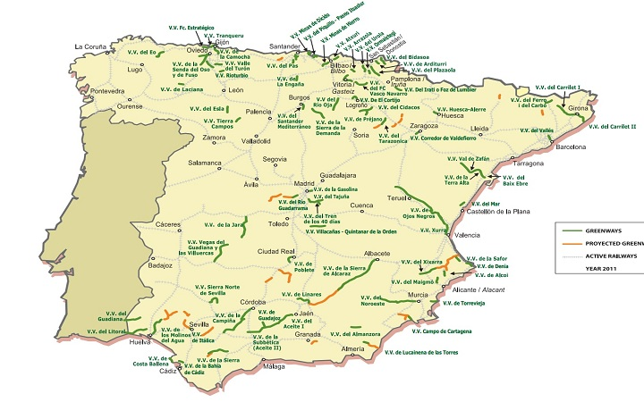 Map the 102 routes throughout Spain. Photo: Greenways Foundation