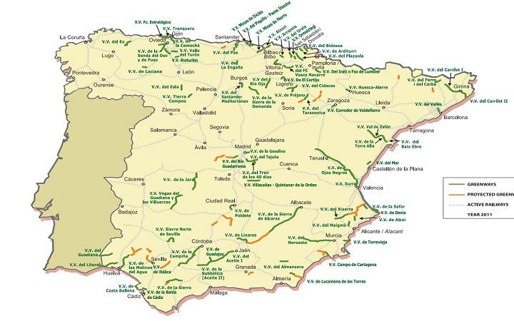 Mapa con las 102 rutas repartidas por toda España. Foto: Fundación Vías Verdes