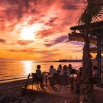 Sunset over Fuerte Marbella Beach Restaurant