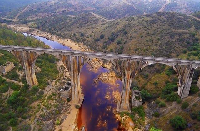 """Puente de las Tres Fuentes - credit """"A vista de Drone"""" Huelva"""