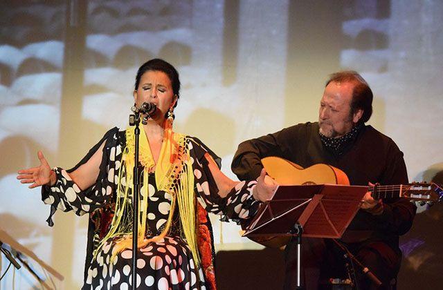 La cantaora María José Santiago en un tablao flamenco