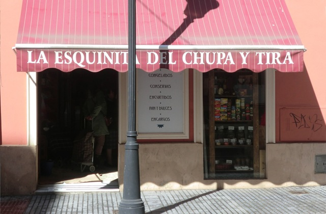 Discover the route of the most authentic corner shops in Málaga: Andalusian traditional products: Ultramario La esquinita del chupa y tira