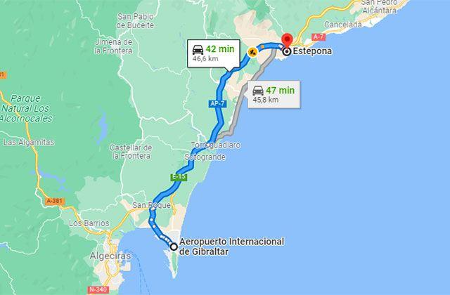Gibraltar - Estepona map