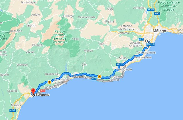 Málaga - Estepona map