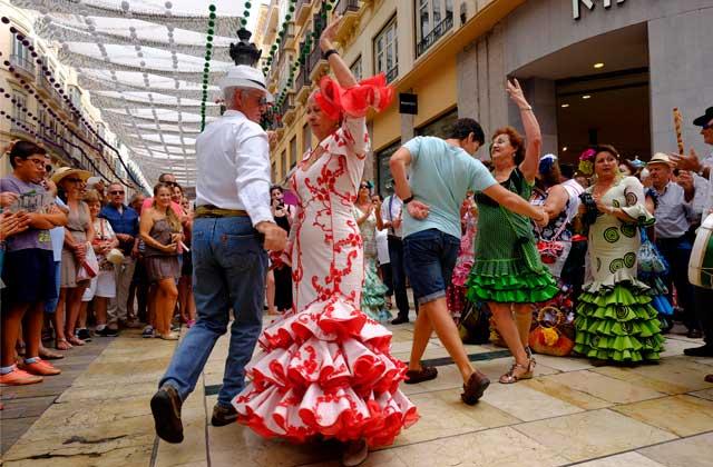Feria de Málaga en el centro de la ciudad.