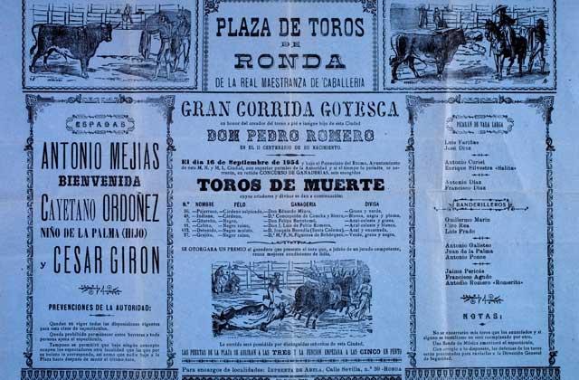 Feria de Ronda - Cartel de la Primera Corrida Goyesca de Ronda. Foto de Pepe Morón, del Archivo fotográfico de la Real Maestranza de Caballería de Ronda.