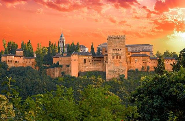 Sonnenuntergänge von Andalusien - Torre de Comares en la Alhambra de Granada